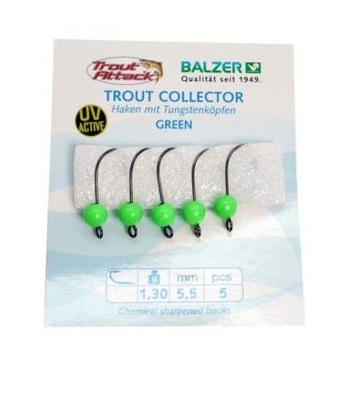 Balzer Trout Collector Haken Größe 6 + Tugstenkopf green 1,3g