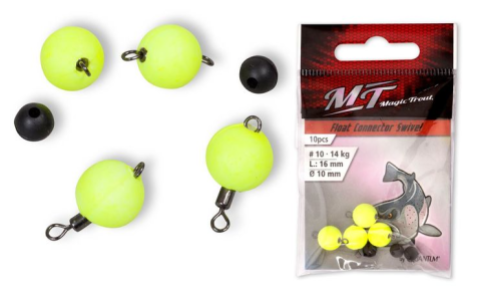 Magic Trout Float Connector Swivel YELLOW