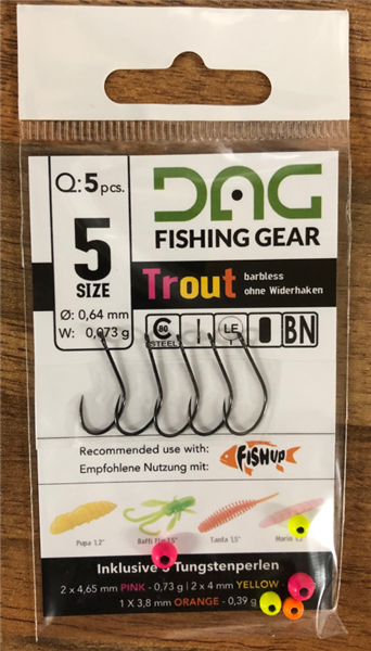 DAG Fishing Gear Hook Set + Tungsten Size 5