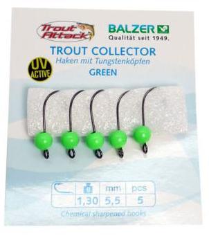 Balzer Trout Collector Haken Größe 8 + Tugstenkopf green 1,3g